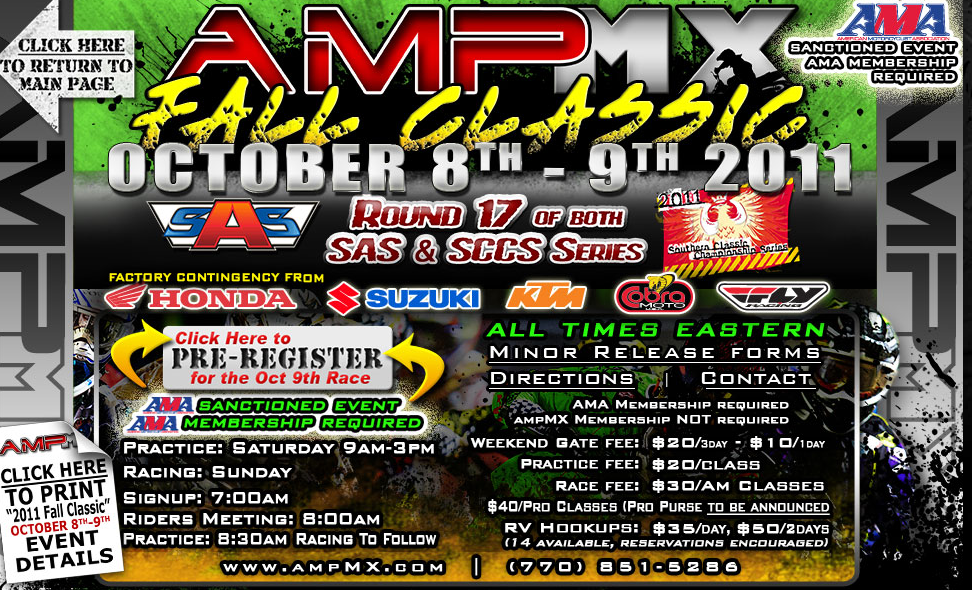 AMP MX Pre-Reg Open for Oct 8th-9th Race Weekend